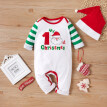 Infant Baby Boys Girls Christmas Cartoon Santa Striped Print Romper Jumpsuit+Hat