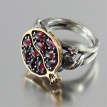 Vintage Round GoldColor Natural Red Garnet Ring Crystal Rhinestone Stone Leaf bague Pomegranate Jewelry Rings for Women
