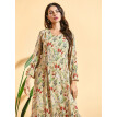 Women's Kaftan Patchwork Floral Print Long Sleeve Dress