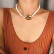 Vintage Metal Natural Freshwater Shell Pearl Necklace Women's Jewelry Gift