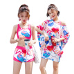 You swimwear women's sports split three-piece conservative cover belly students were thin Korean hot springs small fragrance 19341B love M (80-98 kg)