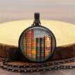 Vintage Library and Books Time Fashion Silver Necklace Pendant Jewelry
