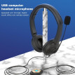 USB Wired Headset with Noise Cancelling Microphone On Ear Computer Headphone Call Center Earphone Volume Control Speaker Mic Mute