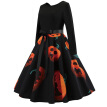 Women Pumpkin Halloween Vintage Dress Print Patchwork Midi Autumn Winter Dresses Long Sleeve Elegant Party Dress Cos