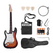 Muslady Electric Guitar Solid Wood Paulownia Body Maple Neck 21 Frets 6 String with Speaker Pitch Pipe Guitar Bag Strap Picks Left