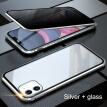 Magnetic Adsorption Metal Case Double Size Protective Glass Phone Cover for iPhone 11 Pro Max