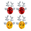 Crystal Gemstone Earrings Luxury Three-dimensional Christmas Antlers Gift