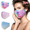 Lerncany 3PC Fashion Adult Men And Women  Washable  Tie-Dyed Gradients Outdoors Mask