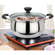 American kitchen household soup pot 304 stainless steel double bottom stew pot does not stick to the gas stove pot electromagnetic