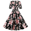 Fashion Women V-Neck Floral Print Draped Vintage Party Evening Ball Gown Dress