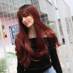 High Quality Synthetic Hair Black Gradient Wine Red Long Hair Wig