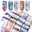 16Pcs/Set Holographic Nail Transfer Stickers Gradient Maze Nail Foils DIY Tips