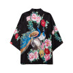 Men's Casual Loose Open Front 3/4 Sleeve Japanese Style Print Cover Up Cardigan
