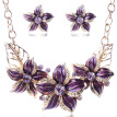 Women's Elegant Vintage Flower Necklace Statement Earrings Jewelry Set PP