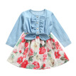 Fashionable Kids Girsl Dress Autumn Long Sleeve Patchwork Cotton Denim Dress For Girl Children Clothes Flower Print