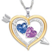 ESSEN Necklace Women Alloy Heart Shape Rhinestone Plated Pendant Birthstone Necklace Jewelry
