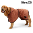 Pet Towel Dog Bathrobe Soft Super Absorbent Microfiber Dog Drying Towel Robe with Hood Belt for Large Medium Small Dogs Brown XS