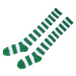 Pair of Women's Green and White Wide Striped Thigh High Over the Knee Stocking Socks (Green & White)