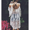 Vintage Hippie Boho People Embroidered Floral Lace Crochet Mini Dress S