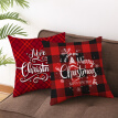 New 17.7in Double-sided Decorative Christmas Theme Checked Throw Pillow Case Red  Plaid Cushion Cover for Sofa Car Home