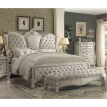 ACME Versailles Queen Bed in Ivory Velvet & Bone White 21130Q