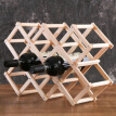 Wood Folding Wine Whisky Holder In Bottle Kitchen BarStorage Exhibitor Solid Wood Creative Folding Wine Rack