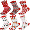 6 Pairs Christmas Socks Cartoon Breathable Cotton Socks Crew Socks for Adults