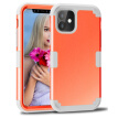 ZHOGTNEG iPhone 11 Case,3-in-1 Hybrid Design Coral Red/Light Grey