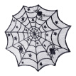 ODOMY Halloween Rectangular Polyester Lace Tablecloth, Black Spider Web - Perfect for , Dinner Parties and Scary Movie Nights