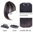 Mnycxen High Temperature Wire Extension Natural Black Wig Female Air Bangs Hair Piece