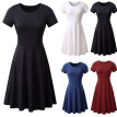 Womens Solid Color Mini Dress Lady Summer Beach Short Sleeve Loose Swing Dresses