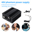 48V Phantom Power Supply with Adapter, BONUS+XLR 3 Pin Microphone Cable for Any Condenser Microphone Music Recording Equipment