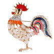Creative Modeling Enameled And Crystal Rhinestones Chicken Rooster Fashion Brooch Pins For Women