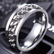 Rotating Chain Men Rings Titanium Steel Spinner Relieve Stress Jewelry