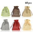 60PCS Jewelry Pouch Fashion Burlap Drawstring Gift Bag Wedding Candy Pouch