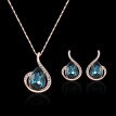 Korean Version Of The New Oval Gemstone Necklace Full Diamond Earrings Necklace Set European And American Set Jewelry