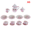 15Pcs 1:12 Dollhouse Miniature Tableware Porcelain Ceramic Tea Cups Set Toys