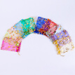 100PCS Organza Gift Pouch Small Sheer Heart Organza Bag Drawstring Jewelry Pouch