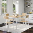 Dining Table and Chair Set 4 Wooden Steel Frame Industrial Style Retro Kitchen Dining Table Set (Natural)