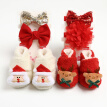 Christmas Baby First Walk Shoes Girl Boy Soft Anti-slip Shoes  Christmas Deer Santa Claus Cute Baby Shoes+2 Headbands​ Or 2 Sock