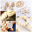 1105 Pieces Wooden Beads - Natural Wood Round Beads Set With 1 Roll Crystal Elastic Line