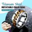 Voberry Punk Wedding Mens Stainless Band Ring Spin Titanium Steel Rotatable Chain