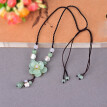 Women's short necklace retro pendant jewelry accessories clavicle chain adjustable jade agate flower