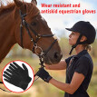 Egmy Women Solid Horse Riding Gloves Cotton Fabric Gloves Leather Equestrian Gloves
