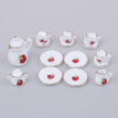 1:12 Dollhouse tableware kitchen miniature 15pcs porcelain tea cup set