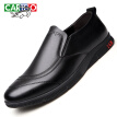 CARTELO fashion men's shoes business breathable leather one foot peas shoes low to help foot casual shoes 8266 black 44