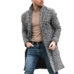 Men Classic Plaid Wool Blends Coat Outwear Mens Fashion Long Sleeve Wool Trench Coat Winter Warm Long Overcoat Coat