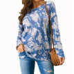 Lanhui Fashion Womens Long Sleeve Tie-dye RoundNeck Shirts Casual Elegant Pullover Tops