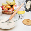 13 Inch Wooden Handle Flour Coil Mixer Kitchen Baking Tools Beater Flour Mixing Stick for Making Pasta Bread Cakes Biscuits