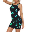 Lovaru Women's Sleeveless Butterfly Print O-collar Mini Dress